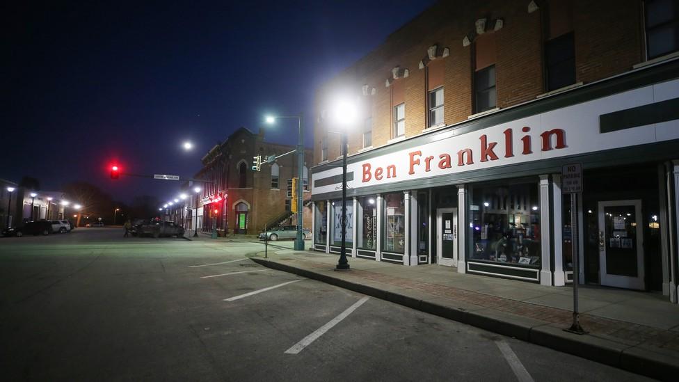 The Ben Franklin store sits empty in Winterset, Iowa.