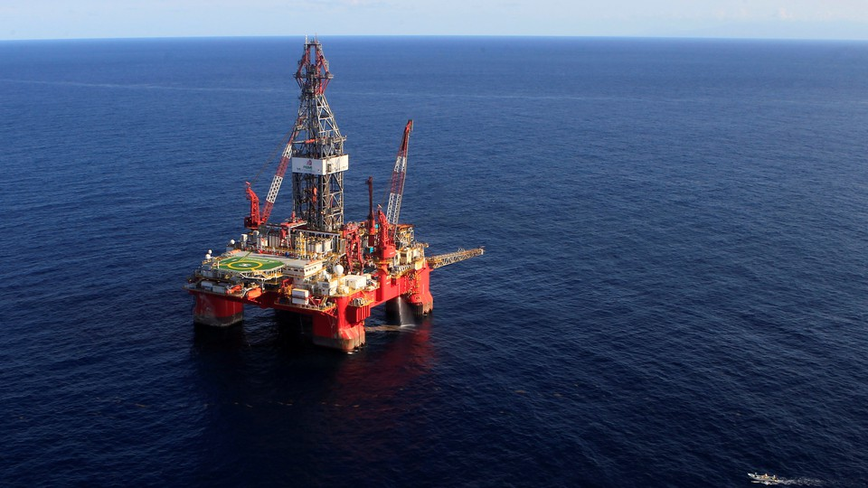 A deepwater oil platform sits in the Gulf of Mexico off the coast of Veracruz, Mexico, in 2014.