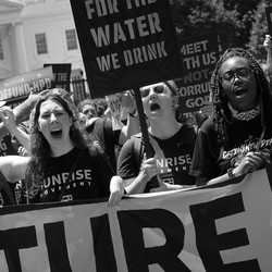 Hundreds of young climate activists rally in Lafayette Square on the north side of the White House on June 28, 2021.