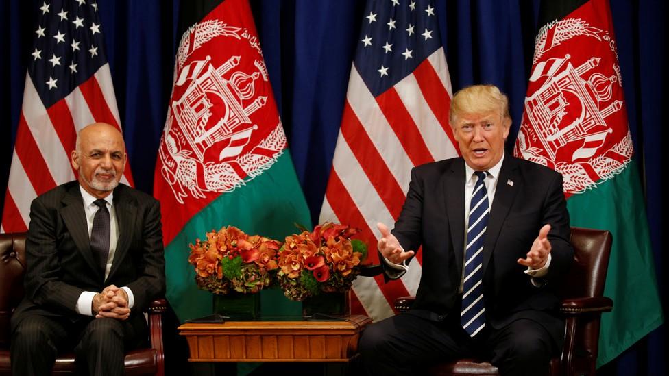 Donald Trump and Afghan president Ashraf Ghani meet in New York in 2017.