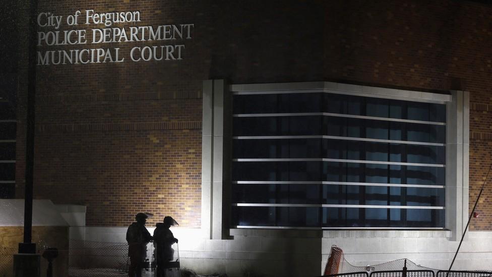 The exterior of the Ferguson, Missouri, municipal court
