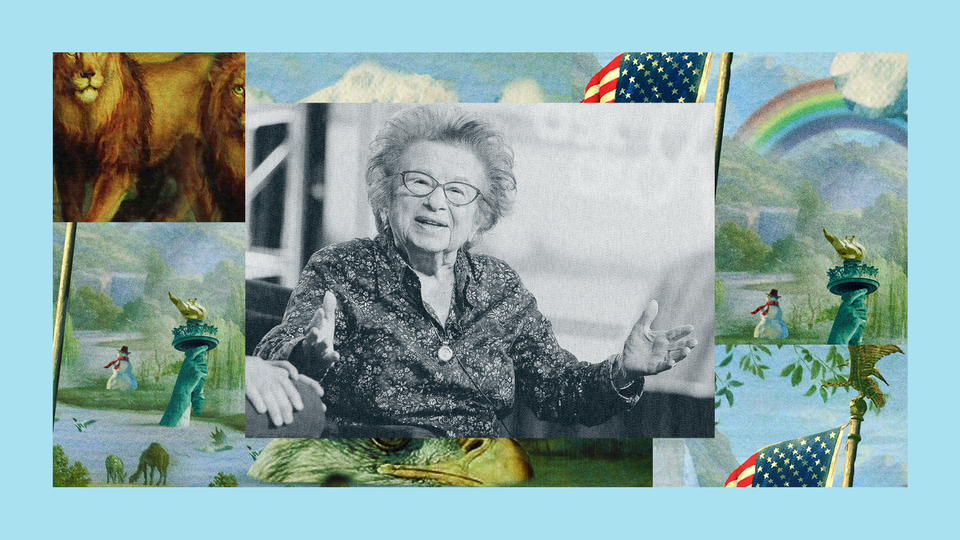 A headshot of Dr. Ruth K. Westheimer. The image is set into a frame featuring The Experiment's show art.