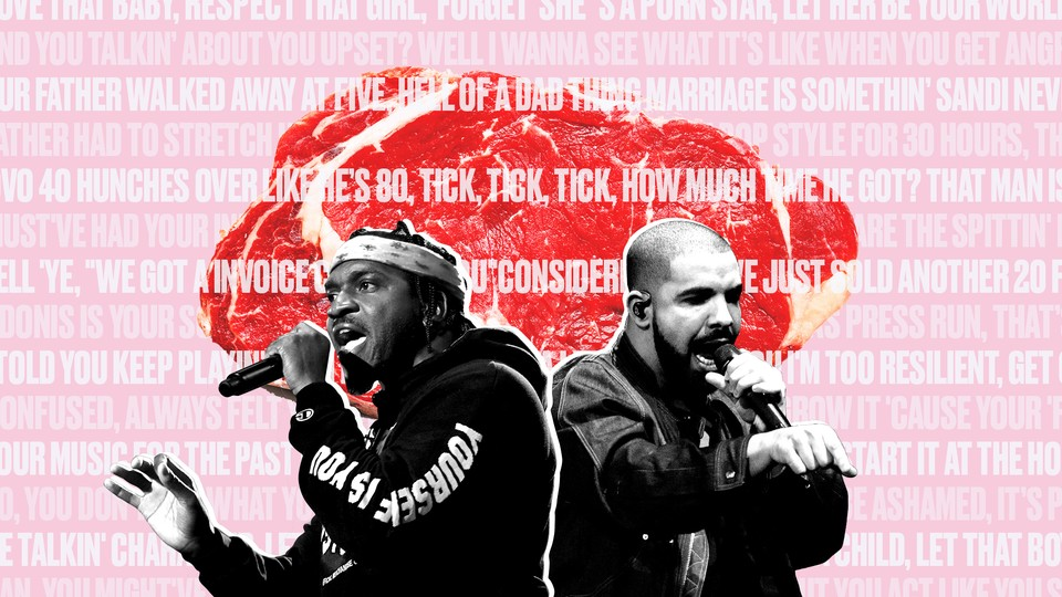 A cutout of Pusha T and Drake against lyrics from 'The Story of Adidon' and a slab of red meat