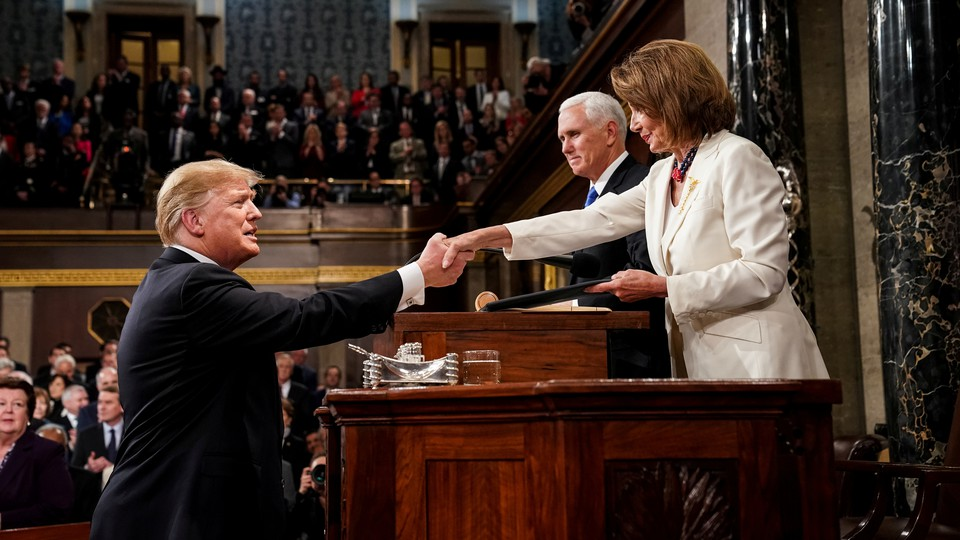 Donald Trump before delivering the State of the Union address, with Vice President Mike Pence and Speaker of the House Nancy Pelosi
