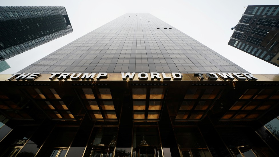 The Trump World Tower in New York, pictured from below.