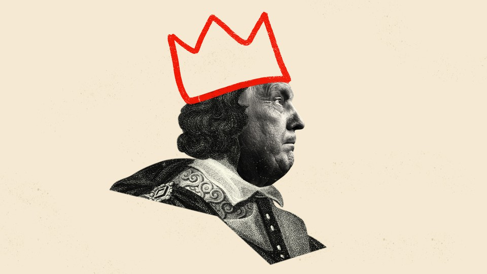 An illustration of Donald Trump dressed as Richard II with a crown
