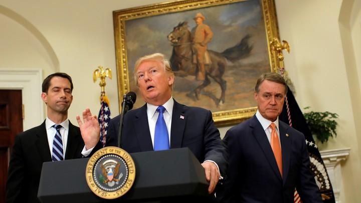 President Trump, Senator Tom Cotton, and Senator David Perdue at an announcement