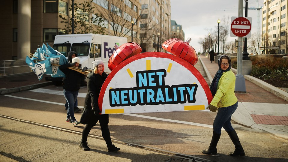 Protestors after a rally opposing the repeal of net-neutrality