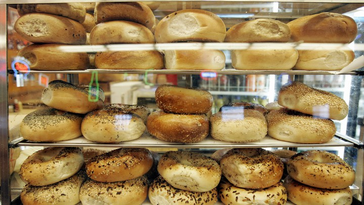Bagels in a display case