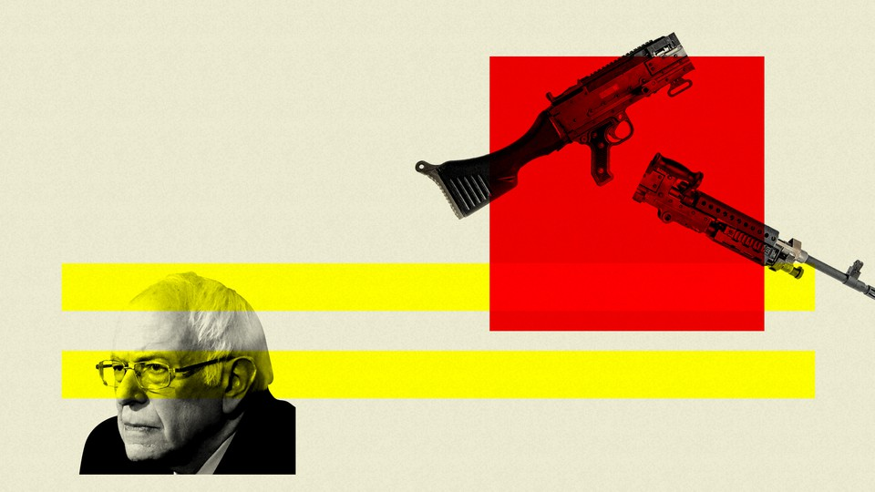 Bernie Sanders is pictured next to two guns.