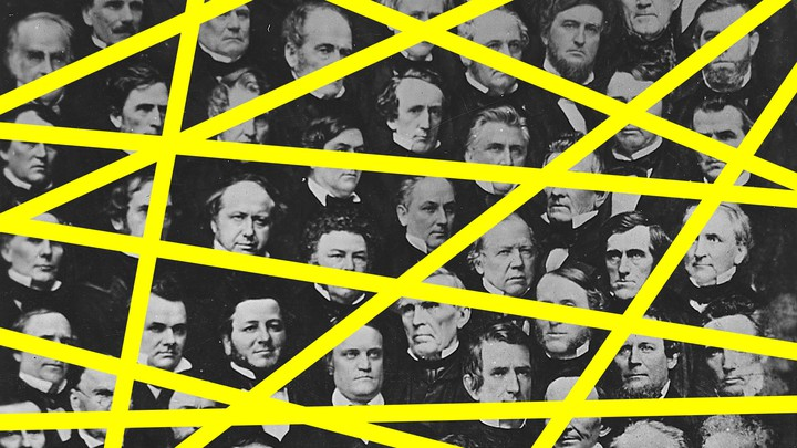 An illustration of old congressional members with yellow lines drawn on top
