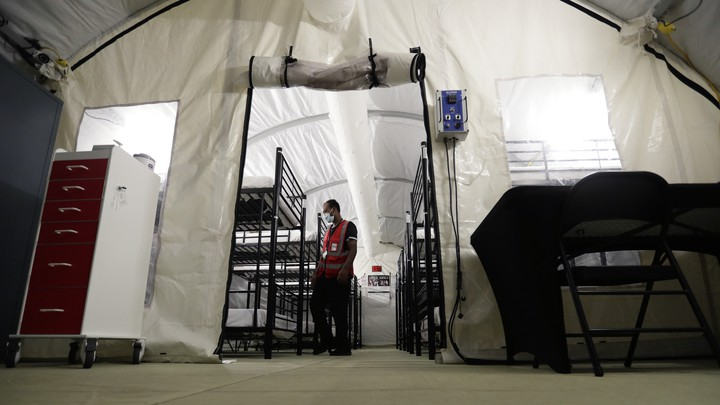A man in an infirmary at a detention center in Texas.