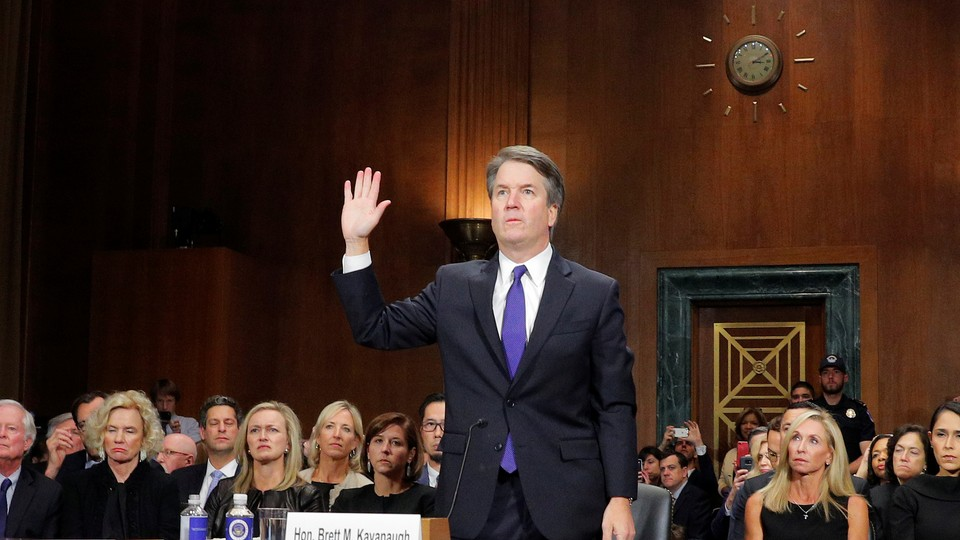 Brett Kavanaugh is sworn in to testify before the Senate Judiciary Committee confirmation hearing.