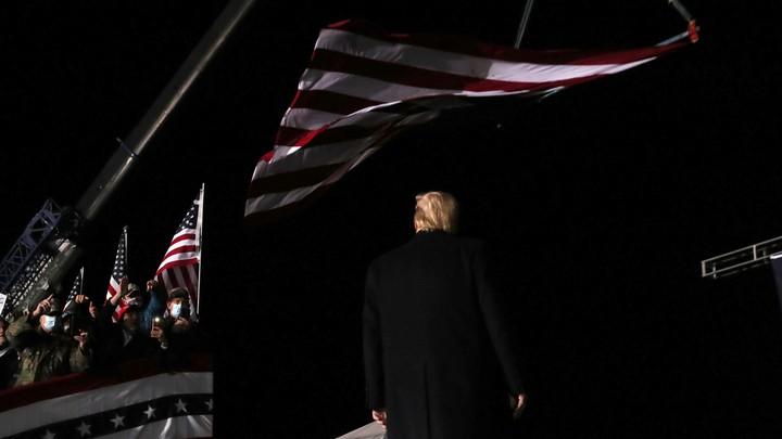 Donald Trump leaving a rally