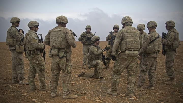 U.S. soldiers gather in Manbij, Syria, in November 2018.