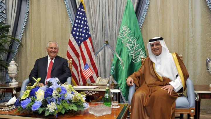 Saudi Foreign Minister Adel al-Jubeir meets with U.S. Secretary of State Rex Tillerson in Jeddah, Saudi Arabia, on July 12.