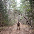 "In a promotion for the podcast ""S-Town,"" a man stands in the woods."