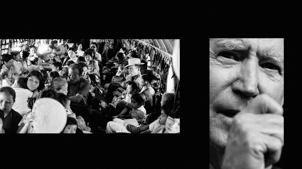 Left: Vietnamese refugees during the evacuation of Da Nang; Right: Joe Biden.