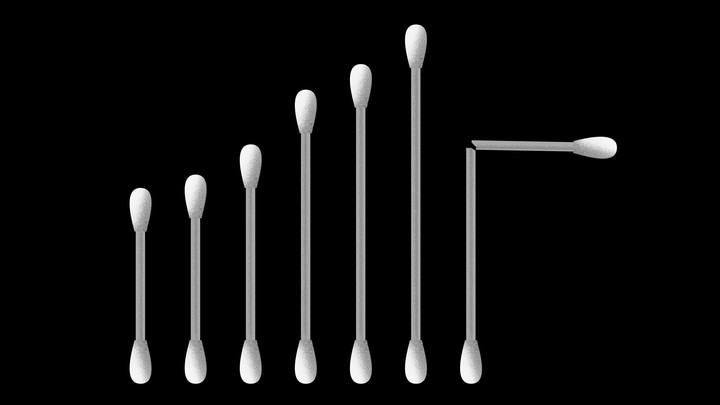 Cotton swabs increasing in size, with one broken