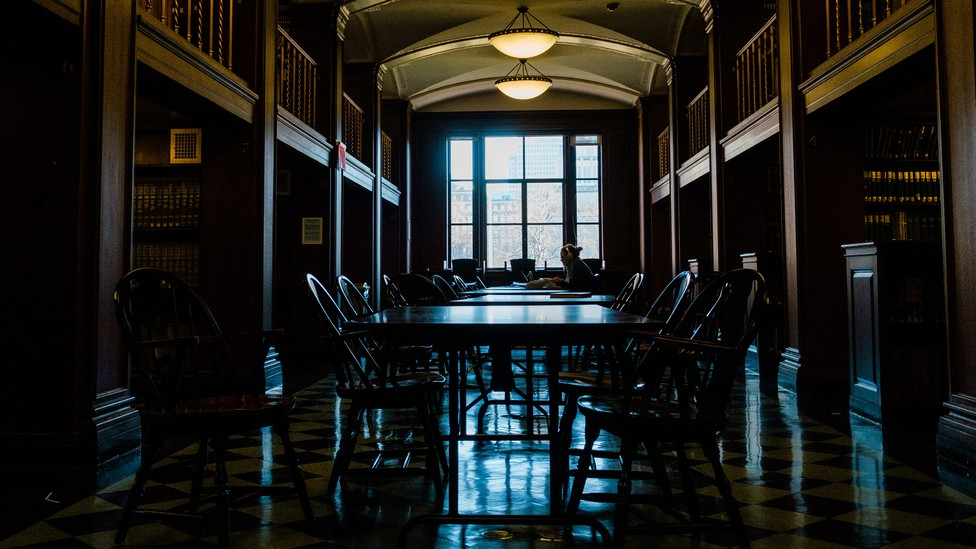 An empty college library