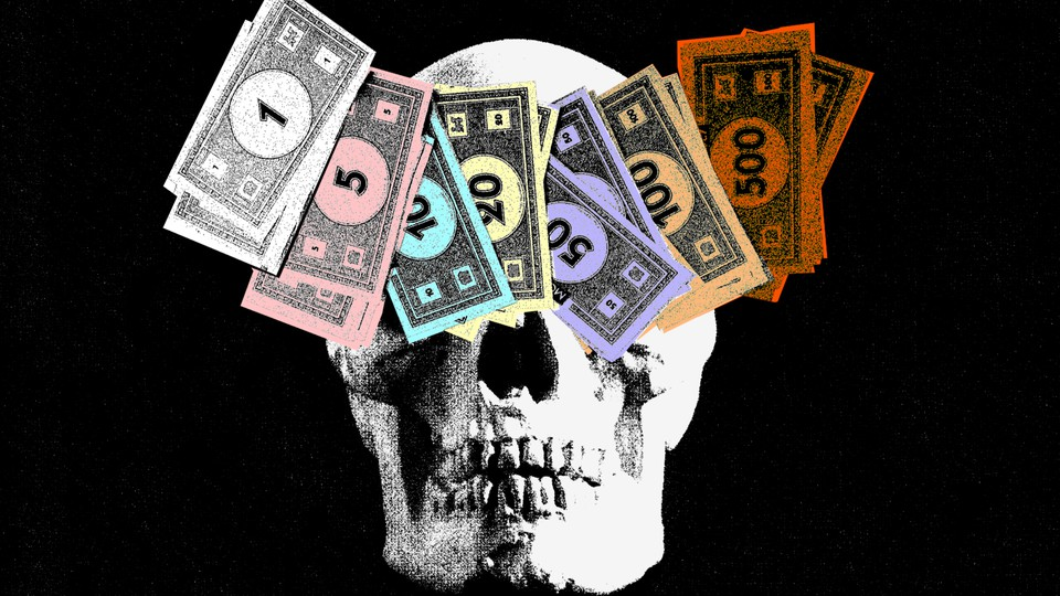 illustration depicting a skull covered by monopoly money