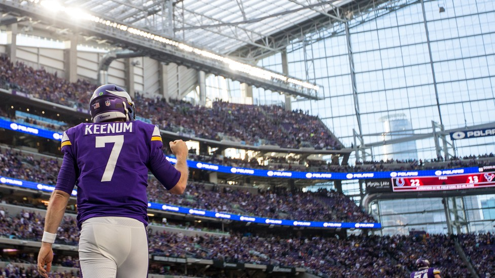 The Minnesota Vikings quarterback Case Keenum celebrates during the fourth quarter against the Chicago Bears at U.S. Bank Stadium on December 31.
