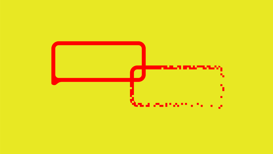 Two interlocking speech bubbles (one of which is disintegrating) against a yellow background