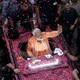 Narendra Modi waves to supporters in Varanasi in April.