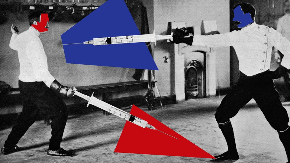 A fencing match between a blue and a red competitor, with syringes as the swords