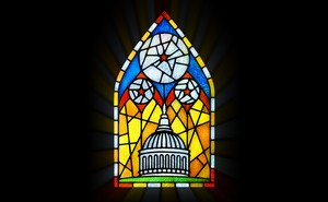 illustration of a stained glass window of the U.S. Capitol dome with stars