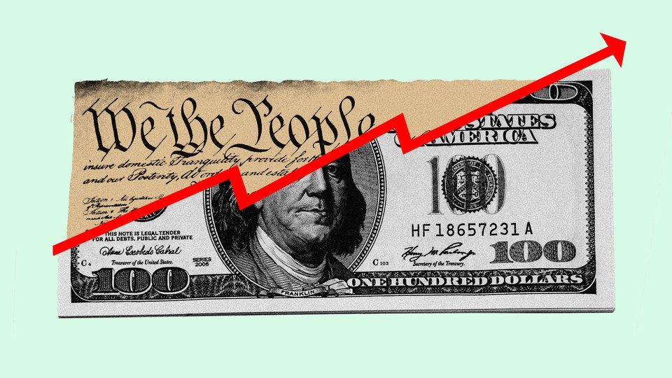 A red arrow goes up through a spliced copy of the Constitution and a one hundred dollar bill.
