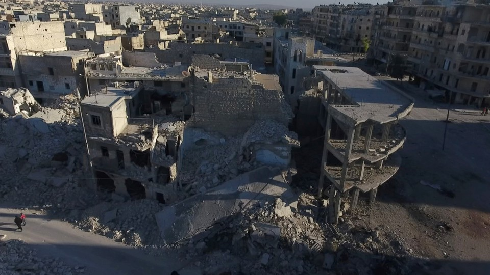 A still image from drone footage taken over Aleppo on September 27, 2016.