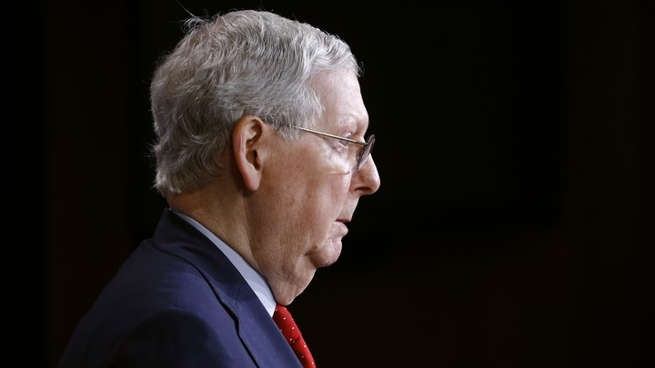 A profile view of Senate Majority Leader Mitch McConnell