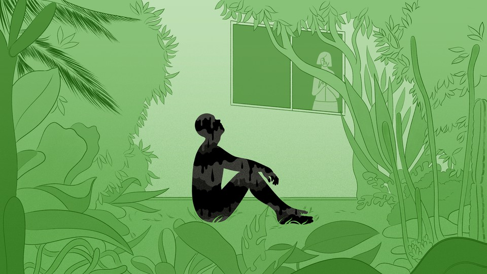 An illustration of a man sitting outside a window looking sad, while his mother peers outside.