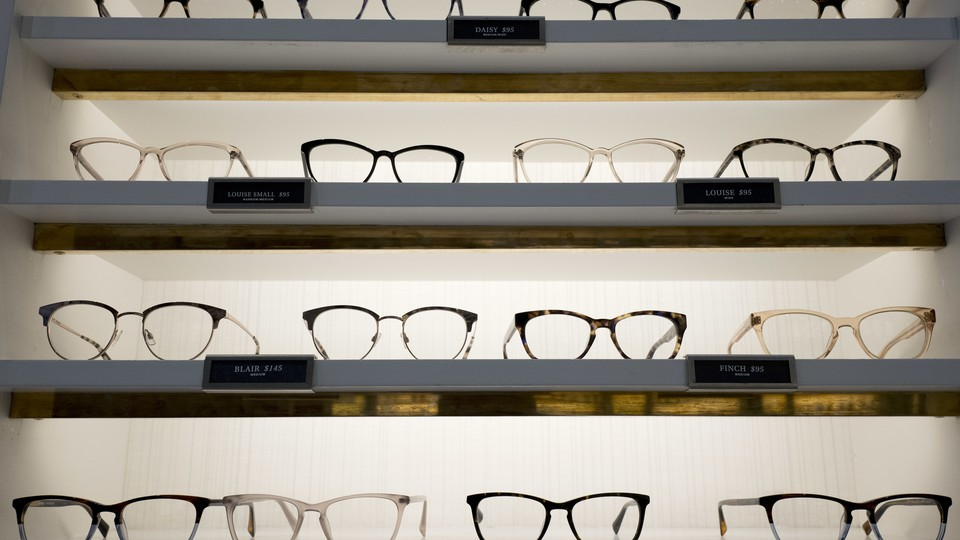 The shelves at a Warby Parker store in New York