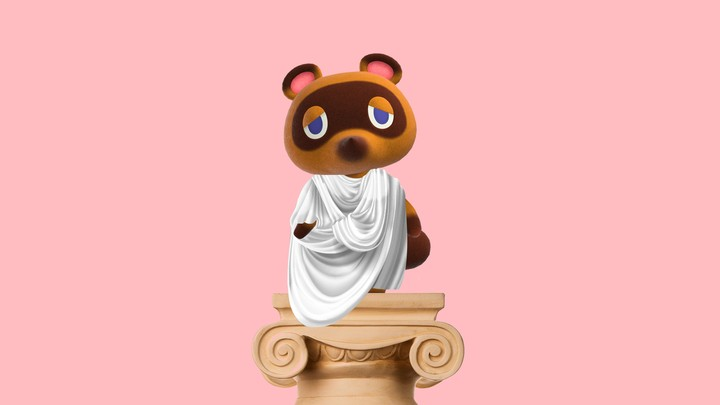 A graphic depicting the Animal Crossing character Tom Nook dressed in a toga, standing atop a column.