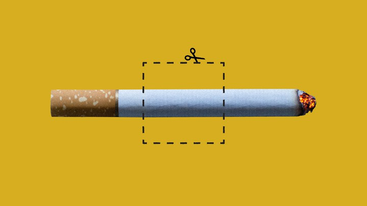 An illustration of a cigarette with a cutout box around it