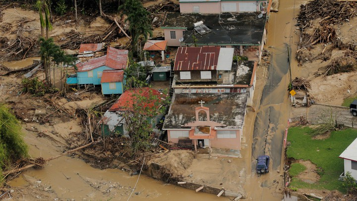Damage left behind by Hurricane Maria, as seen from the air