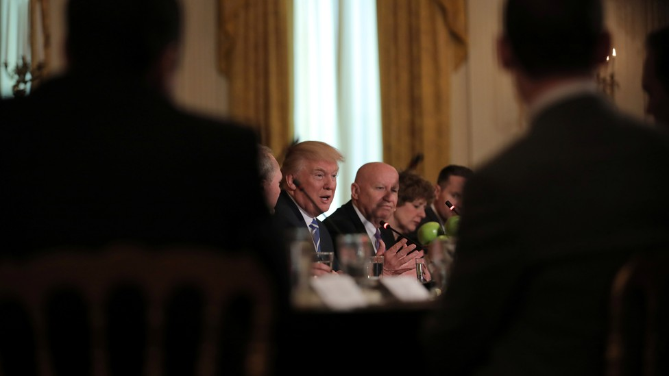 President Trump meets with the House Republican deputy whip team at the White House on Tuesday.
