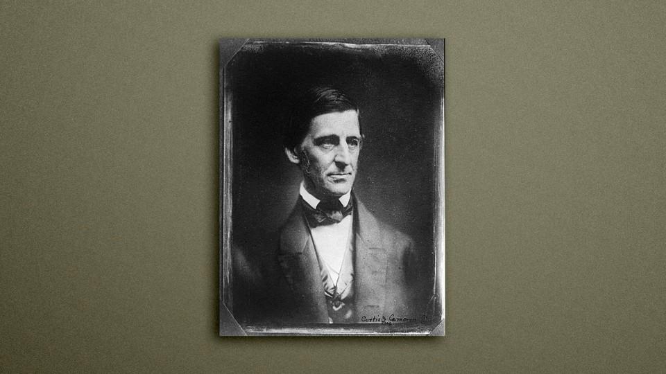 a portrait of Ralph Waldo Emerson on a gray background