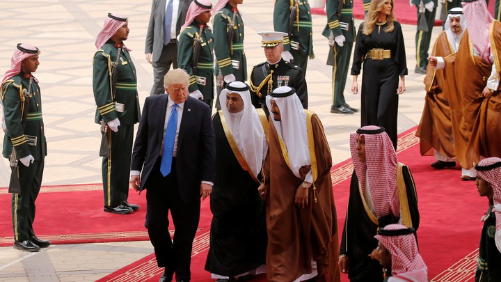 Saudi Arabia's King Salman bin Abdulaziz Al Saud welcomes U.S. President Donald Trump and first lady Melania Trump on May 20, 2017.