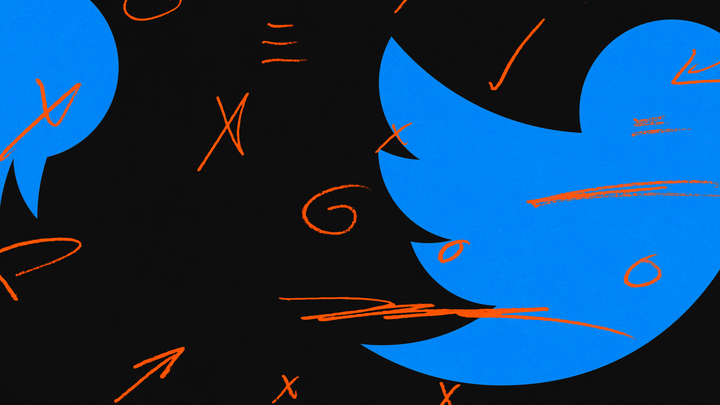 The twitter logo on a black background with red scribbles