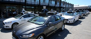 Self-driving cars are pictured.