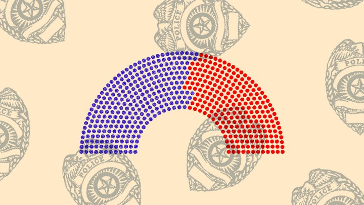 An illustration of congressional seats with police badges behind