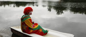 photo: Aqua the Clown waits for his cue to perform during the Tommy Bartlett Show in Wisconsin Dells on Lake Delton, Wisconsin.