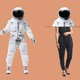 Normal people are dressed as astronauts