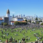 photo: Protesters gather at Dolores Park in San Francisco, California on June 3.
