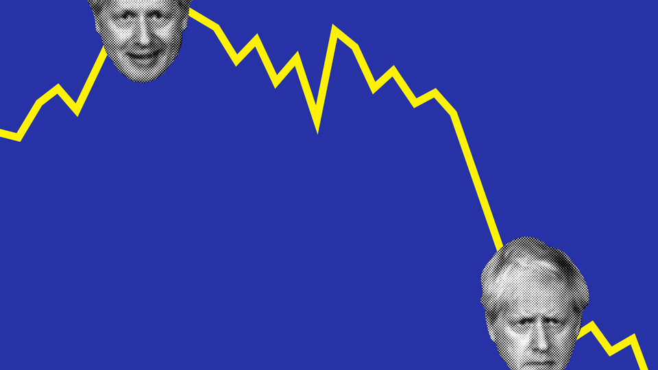 An illustration of Boris Johnson set against a chart showing a descending line