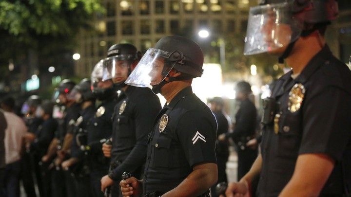 Los Angeles police officers. The LAPD got an F rating from the Campaign Zero scorecard.