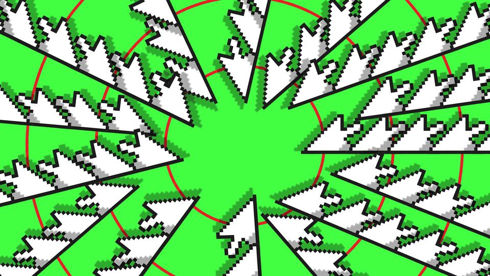 Screen cursors pointing toward center of dart board